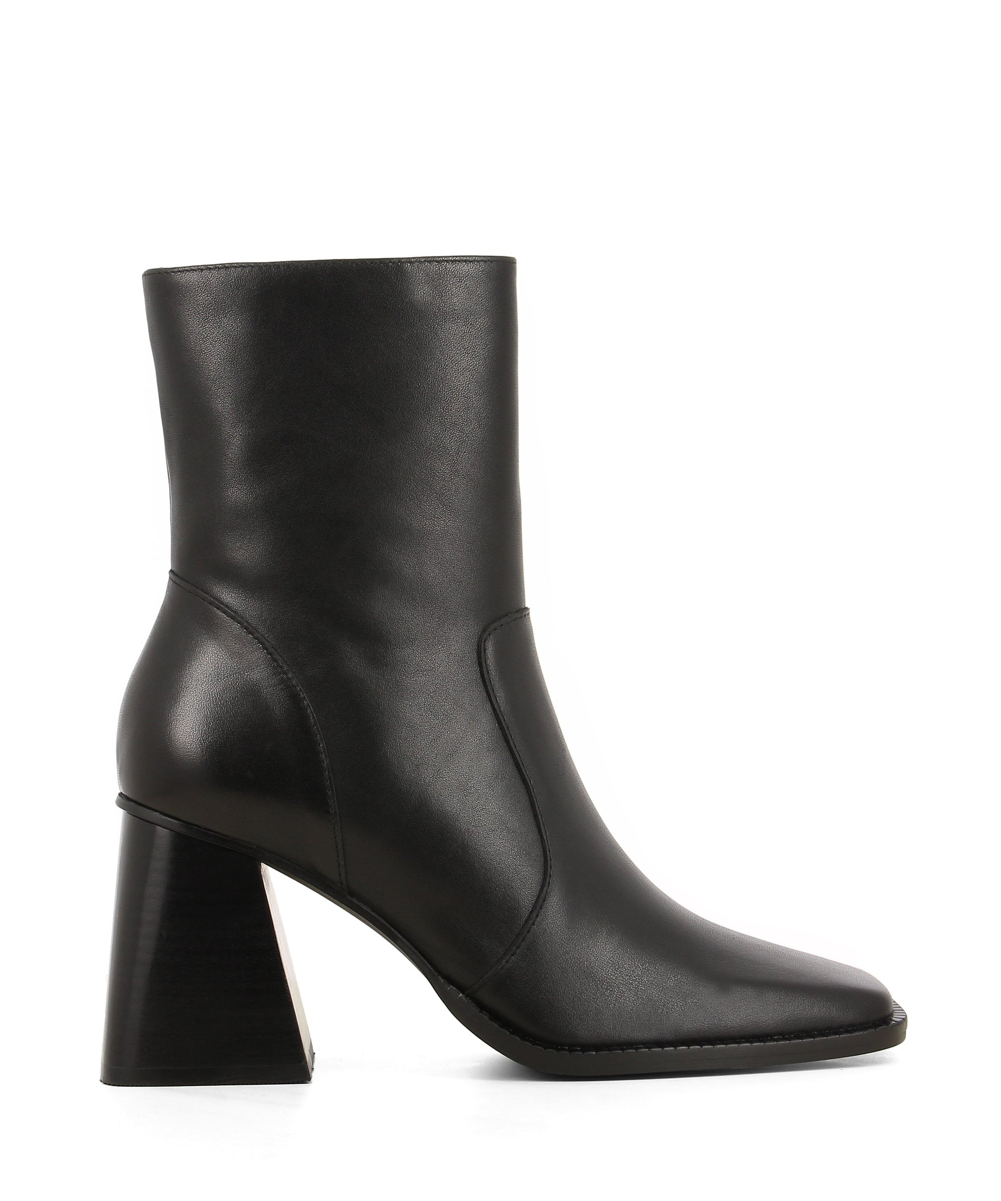Black leather ankle boots featuring zipper fastenings, a flared block heel and a square toe by 2 Baia Vista.