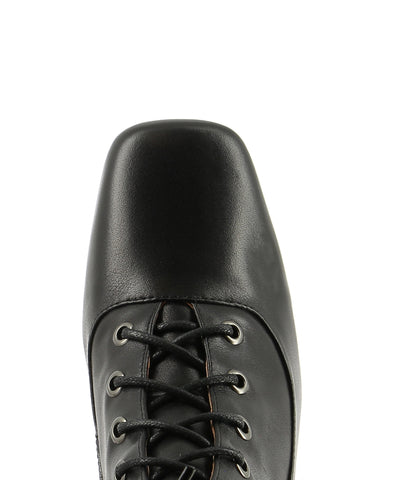Black leather lace-up ankle boots that have inner zipper fastening and features a 7 cm hourglass heel and a soft square toe by 2 Baia Vista.