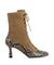 Brown suede and snakeskin lace-up ankle boots that have inner zipper fastening and features a 7 cm hourglass heel and a soft square toe by 2 Baia Vista.