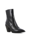 Black leather Western ankle boots that have inner zipper fastening and features a 7.5 cm semi Cuban heel and a pointed toe by 2 Baia Vista.