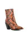 Orange snakeskin Western ankle boots that have inner zipper fastening and features a 7.5 cm semi Cuban heel and a pointed toe by 2 Baia Vista.