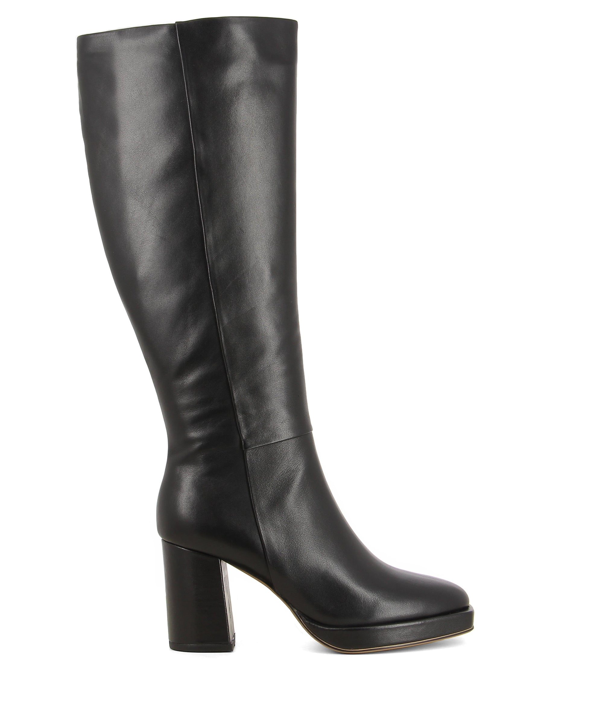 Black leather knee high boots featuring a zipper fastening, a platform sole, a high block heel and an almond toe on a square rand by 2 Baia Vista.