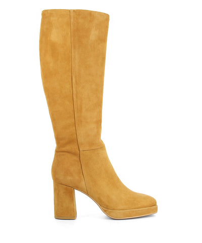 Tan suede knee high boots featuring a zipper fastening, a platform sole, a high block heel and an almond toe on a square rand by 2 Baia Vista.