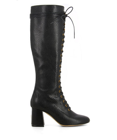 Black lace up knee high boots featuring tie fastenings, a snake embossed upper, gold eyelets, a block heel and an almond toe by 2 Baia Vista.