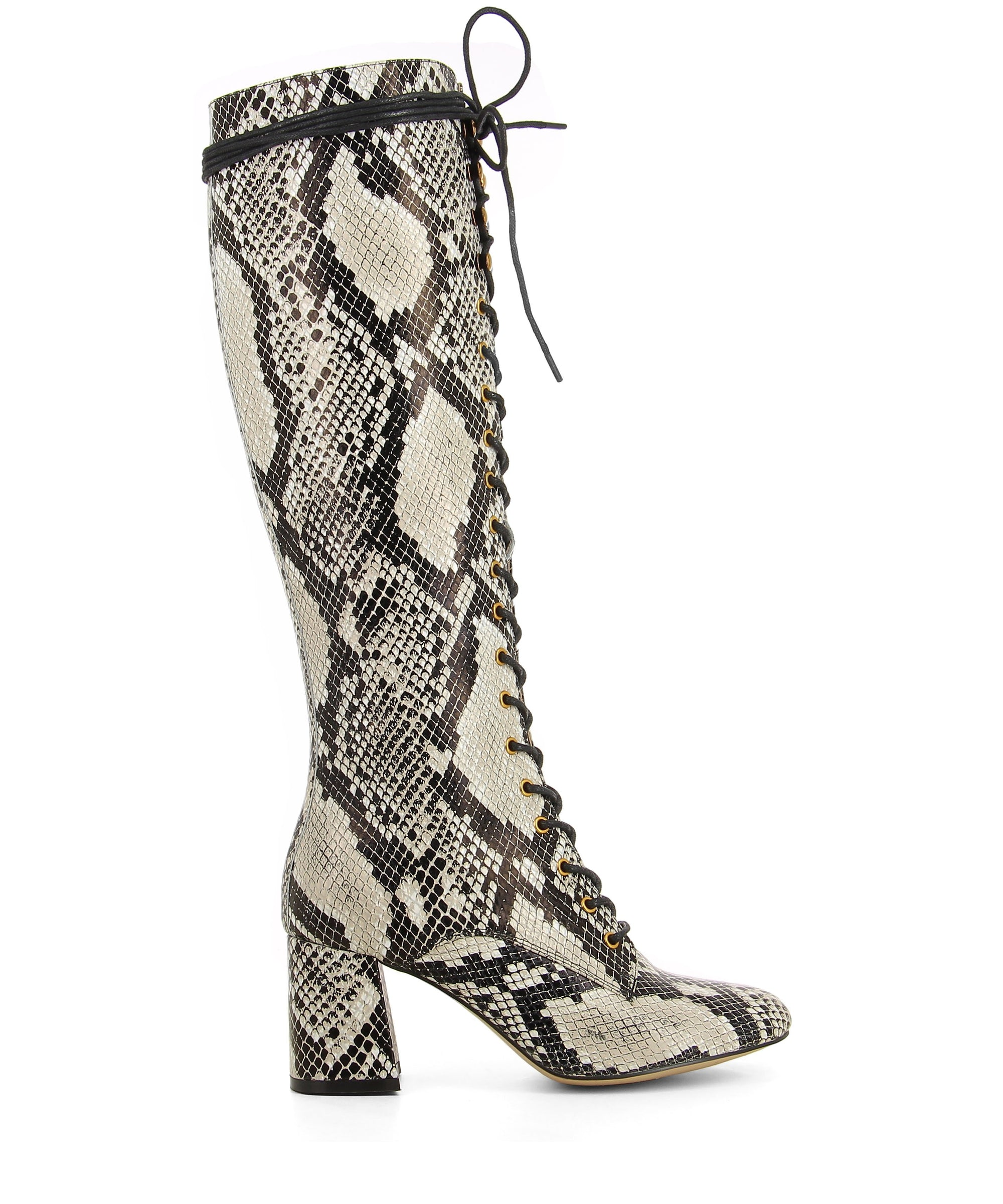 Black and white snake print knee high boots featuring lace up fastenings, gold eyelets, a block heel and an almond toe by 2 Baia Vista.