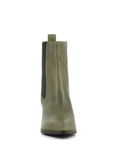 Chic khaki green snake leather Chelsea boots that are a pull on style featuring elastic side gussets, a 7.5cm block heel and a pointed toe by 2 Baia Vista.