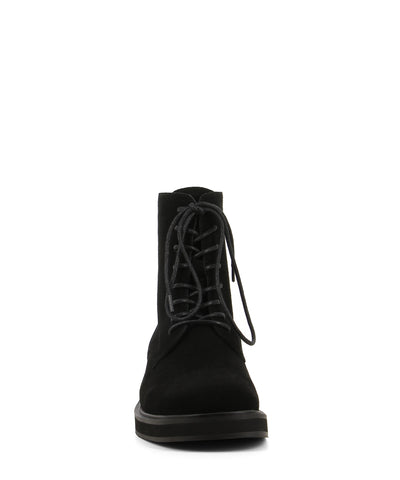 Black suede lace up ankle boots featuring zipper fastenings, a low block heel and a soft square toe by 2 Baia Vista.