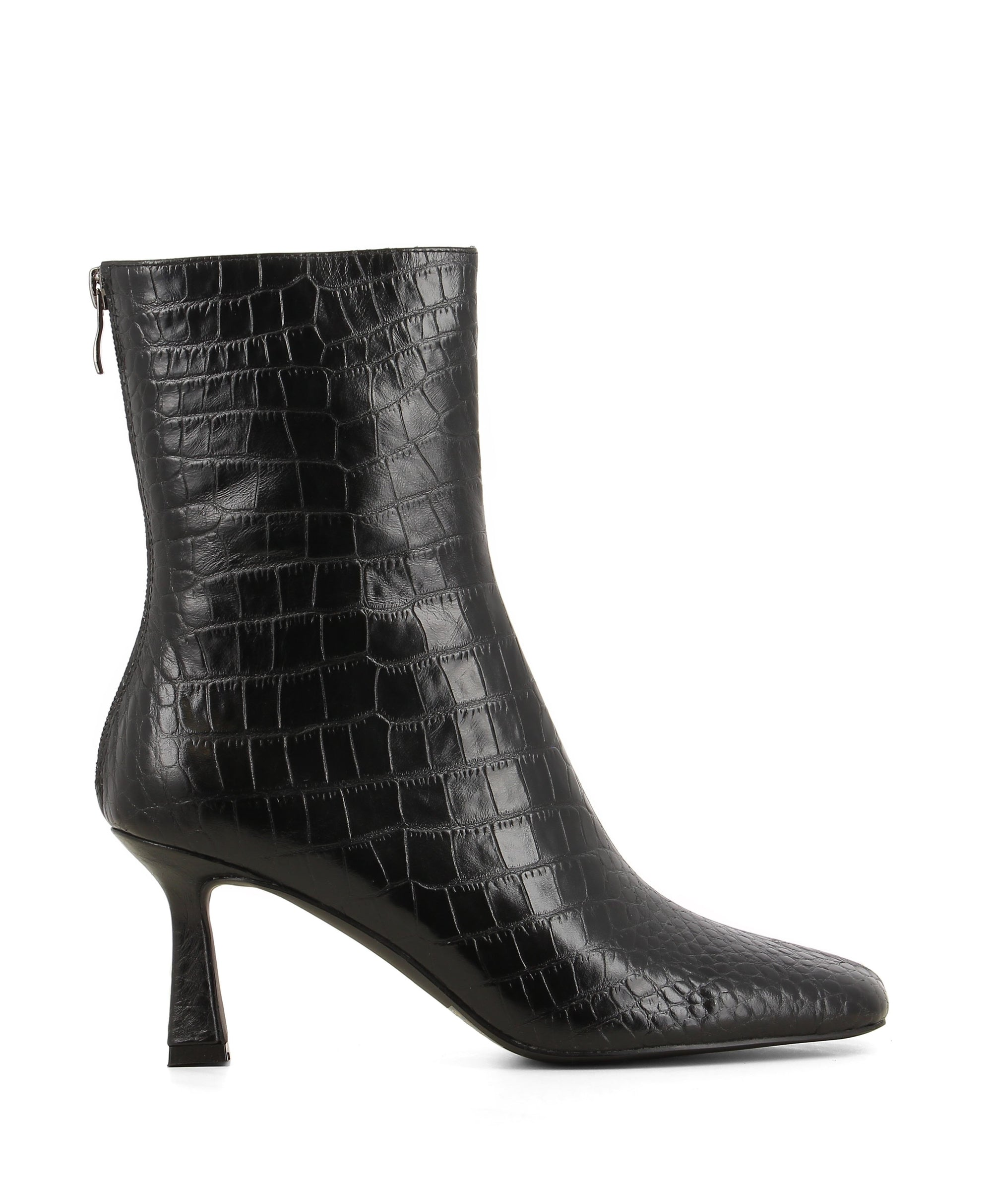 Black leather ankle boots featuring zipper fastenings, a croc embossed upper, an hourglass heel and a square toe by 2 Baia Vista.