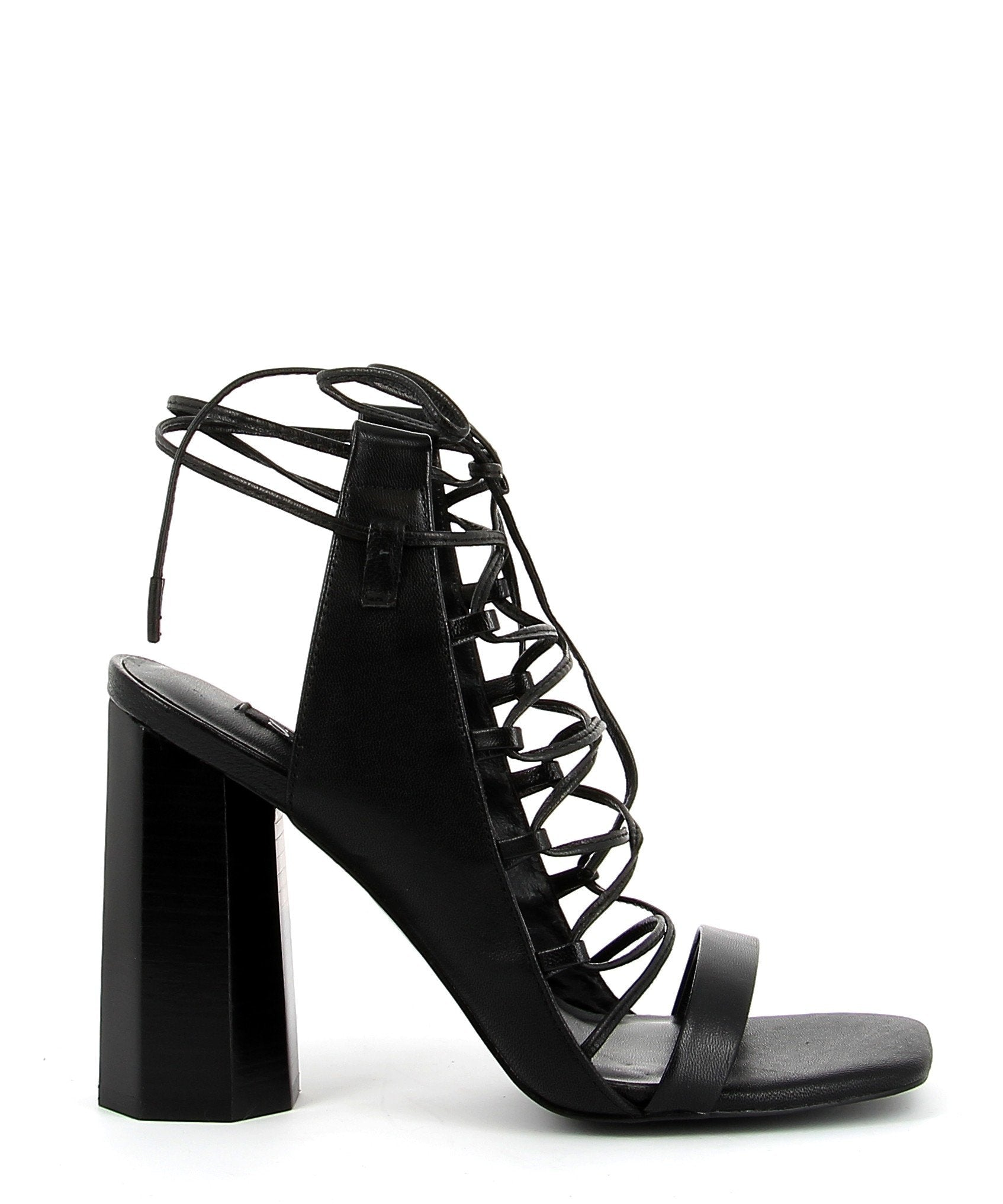 Strappy black leather sandals with tie-up detail, a high 11 cm architectural block heel and a soft square toe by Senso.