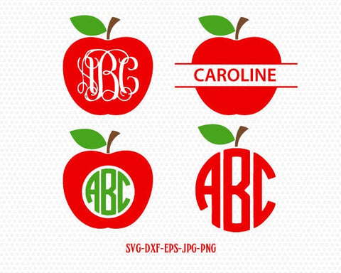 Teacher Svg, Apple Svg, Apple Monogram Svg,Teacher Monogram Svg,School Svg,Split Apple Svg,for CriCut Silhouette cameo Files svg jpg png dxf