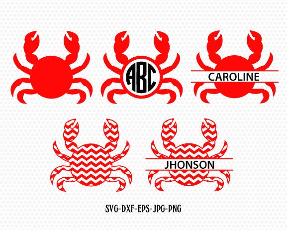 Crab SVG, Crab Monogram frames SVG files, Beach svg cuts, summer monogram svg,CriCut Files frames svg jpg png dxf Silhouette cameo