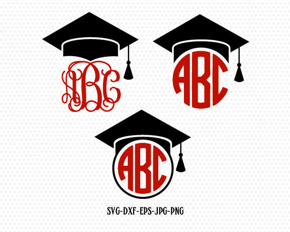 Graduation SVG, Graduation Cap SVG, Graduation Caps monogram frame, Graduation Cut Files,for CriCut Silhouette cameo Files svg jpg png dxf