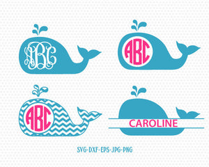 Whale Svg, Whale Frames, Whale Silhouette, sea monogram summer svg, for CriCut Silhouette cameo Files svg jpg png dxf