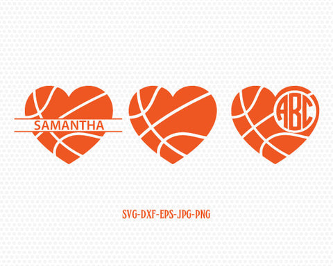 Basketball heart monogram frames,basketball svg, basketball love, basketball monogram,CriCut Files frame svg jpg png dxf Silhouette cameo