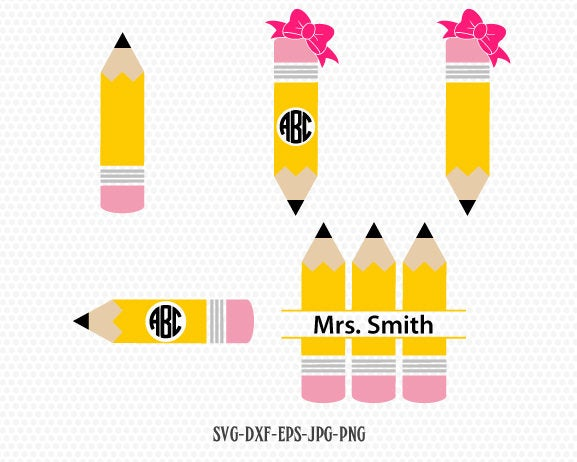 Teacher SVG, back to school svg, Pencil SVG, Pencil Monogram frames, Teacher Monogram, for CriCut Silhouette cameo Files svg jpg png dxf
