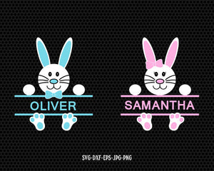 Bunny Girl boy monogram frame Svg, Easter Svg, Cute Easter Bunny Svg, Easter Cut File, cut Files Cricut svg jpg png dxf Silhouette cameo