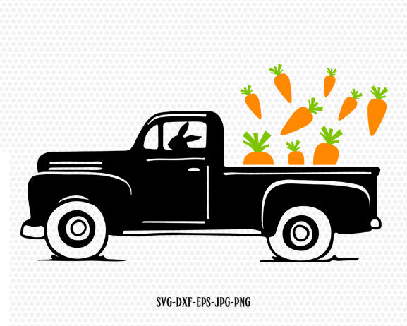 Easter vintage Truck Svg, Easter old Truck ,Easter carrots Svg, Easter eggs, CriCut Files frame svg jpg png dxf Silhouette cameo