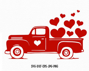 Valentines red Truck Svg, Valentines vintageTruck ,Valentines SVG Cutting File Svg, CriCut Files svg jpg png dxf Silhouette cameo