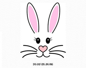 Bunny Svg, Easter Svg, Easter Bunny Svg, Easter Cut File, Bunny face Svg,CriCut Files frame Cricut download svg jpg png dxf Silhouette cameo