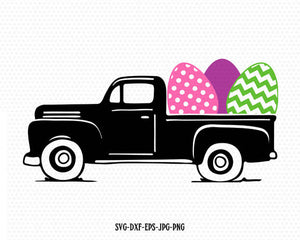 Easter vintage Truck Svg, Easter old Truck ,Easter Cutting File Svg, Easter eggs, CriCut Files frame svg jpg png dxf Silhouette cameo