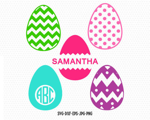 Easter Egg Svg Easter Monogram Frame Svg Patterned Egg Cut File for Cricut Split Egg , monogram frame svg jpg png dxf Silhouette cameo
