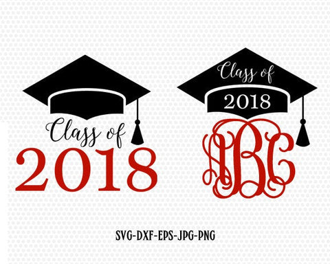 Class of 2018 svg, Graduation svg, Graduation Cap monogram frame svg, Graduation Cut Files ,for CriCut Silhouette Files svg jpg png dxf