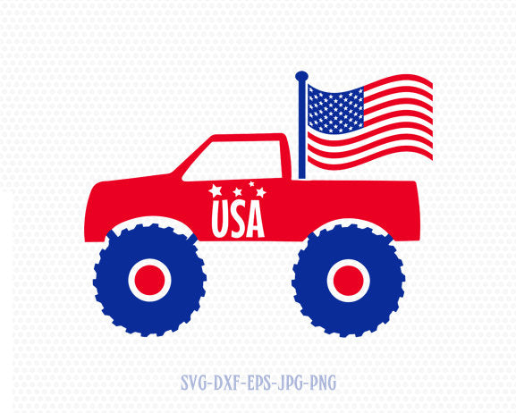 Monster car 4 of july svg,  Fourth of July SVG, 4th of July Svg, Patriotic SVG, America Svg, Cricut, Silhouette Cut File, svg dxf eps