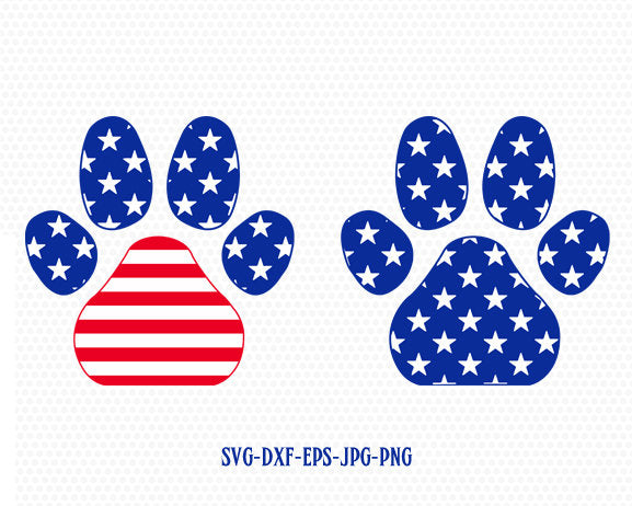 July 4th Paw Prints svg, paw dog svg, Fourth of July SVG, 4th of July Svg, Patriotic SVG, America Svg, Cricut, Silhouette Cut File, svg dxf