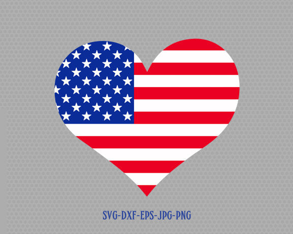 Usa flag heart shape svg, Fourth of July SVG, 4th of July Svg, Patriotic SVG, America Svg, Cricut, Silhouette Cut File, svg dxf eps