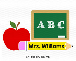 Teacher monogram frame SVG, school svg, back to school svg, apple board pencil svg, for CriCut Silhouette cameo Files svg jpg png dxf