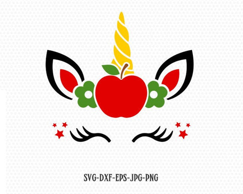 Unicorn svg,  back to school unicorn svg, Teacher SVG, unicorn apple SVG, school svg, for CriCut Silhouette cameo Files svg jpg png dxf