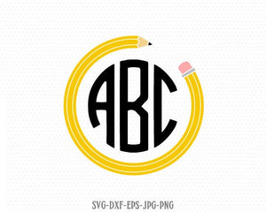 Pencil circle Monogram frame, Teacher SVG, back to school svg, Pencil SVG, for CriCut Silhouette cameo Files svg jpg png dxf