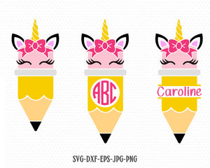 Cute pencil unicorn monogram svg, Pencil svg, Back to School unicorn svg,Teacher SVG, for CriCut Silhouette cameo Files svg jpg png dxf