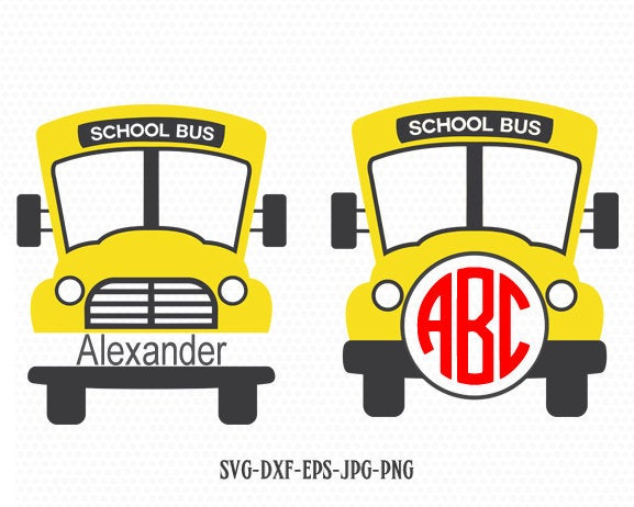 School Bus monogram frame SVG, Back to School SVG, yellow bus, teacher svg, School Bus svg, for CriCut Silhouette cameo  svg jpg png dxf