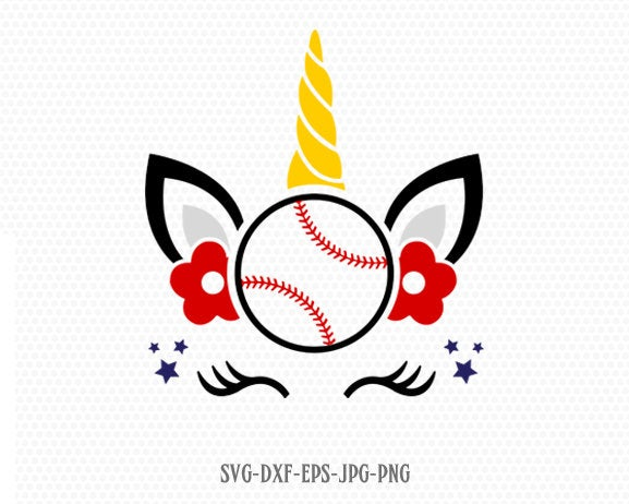 unicorn svg, unicorn eyelashes, unicorn Baseball svg, unicorn birthday svg, Magical unicorn svg, Cricut, Silhouette Cut File, SVG DXF EPS