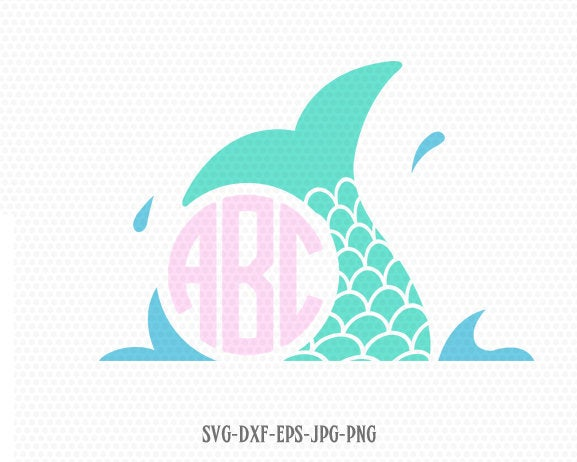 Mermaid Tail SVG Mermaid Scales, summer svg, SVG Mermaid circle monogram frame SVG Svg file, for Cricut download svg jpg png dxf Silhouette