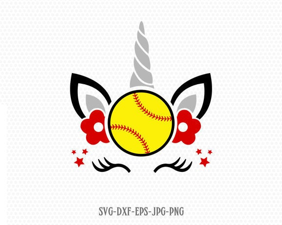 unicorn svg, unicorn eyelashes, Unicorn softball svg, unicorn birthday svg, Magical unicorn svg, Cricut, Silhouette Cut File, SVG DXF EPS