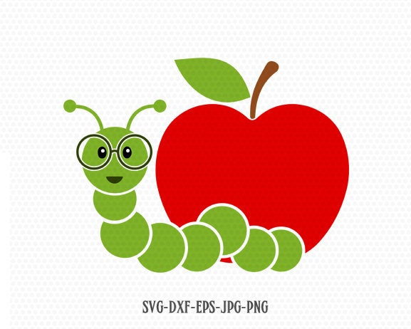 Apple caterpillar school svg, Teacher SVG, back to school svg, school svg, apple svg, for CriCut Silhouette cameo Files svg jpg png dxf