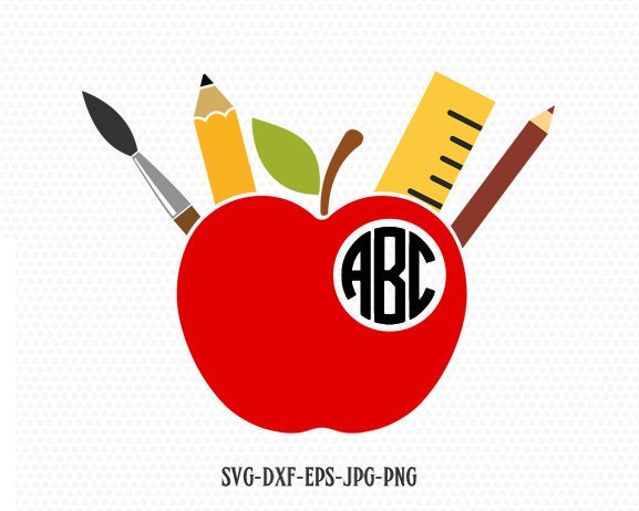 Apple Monogram Svg, Teacher Svg, Apple Svg, Teacher Monogram Svg, School Svg,Split Apple Svg,for CriCut Silhouette cameo svg jpg png dxf