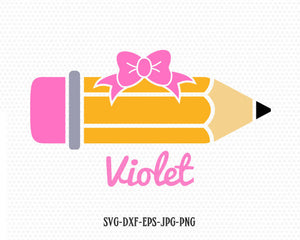 Pencil with girl bow svg, Pencil svg, school SVG, back to school svg, for CriCut Silhouette cameo Files svg jpg png dxf