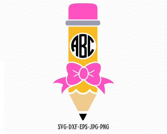 Pencil SVG, Pencil with bow SVG, Teacher SVG, back to school svg, Pencil Monogram frames, for CriCut Silhouette cameo Files svg jpg png dxf