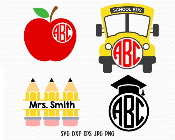 Teacher SVG, back to school svg, apple pencil school bus graduation svg, Teacher Monogram svg, for CriCut Silhouette cameo svg jpg png dxf