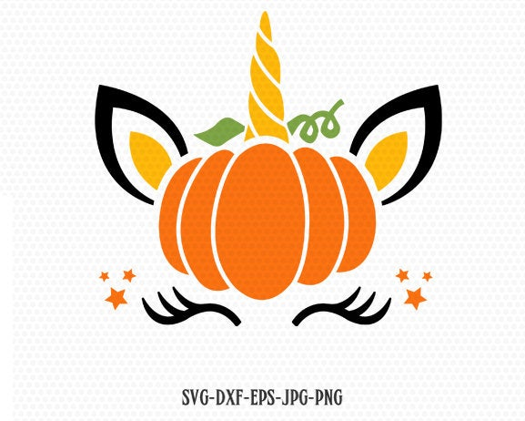Pumpkin unicorn svg, unicorn svg, unicorn birthday svg, Magical unicorn svg, unicorn eyelashes, Cricut, Silhouette Cut File, SVG DXF EPS