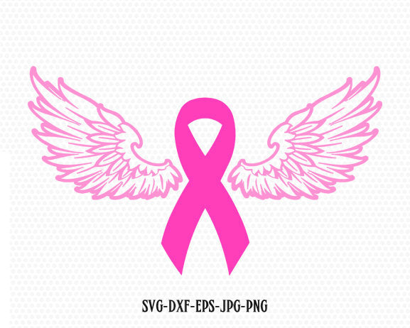 Cancer Ribbon angel wings SVG, Cancer Survivor, Awareness Ribbon SVG, breast cancer ribbon svg,Files for Cricut Silhouette svg jpg png dxf