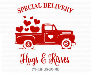 Special delivery Hugs kisses SVG, Valentines Truck svg, Valentines Day SVG, Love SVG, CriCut Files svg jpg png dxf Silhouette
