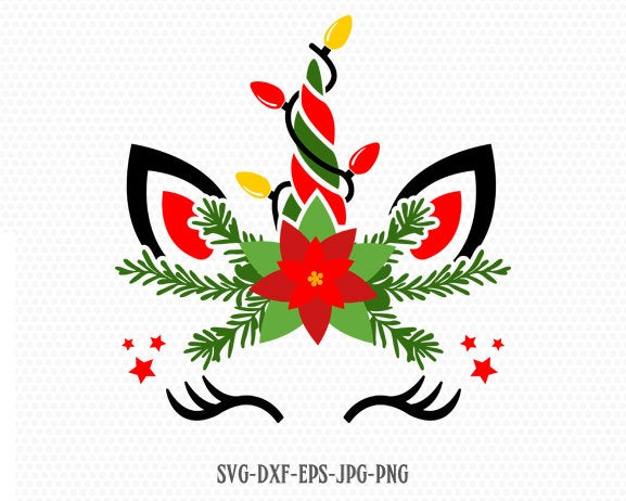 christmas unicorn svg, unicorn svg, unicorn eyelashes christmas light svg, holy unicorn face svg, Cricut, Silhouette Cut File, SVG DXF EPS