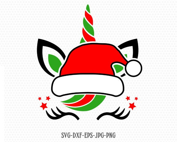Christmas Unicorn Svg, Unicorn Face Svg, Christmas svg, Santa Claus Svg, Happy Christmas svg, Cricut, Silhouette Cut File, SVG DXF EPS