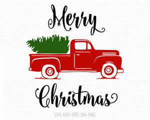 truck tree retro vintage winter holiday svg, merry christmas, Christmas Cutting File CriCut Files svg jpg png dxf Silhouette