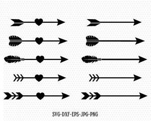 Arrows svg, Arrow cut file, arrow heart svg, Valentines Day SVG, Love arrow SVG, CriCut Files svg jpg png dxf Silhouette cameo