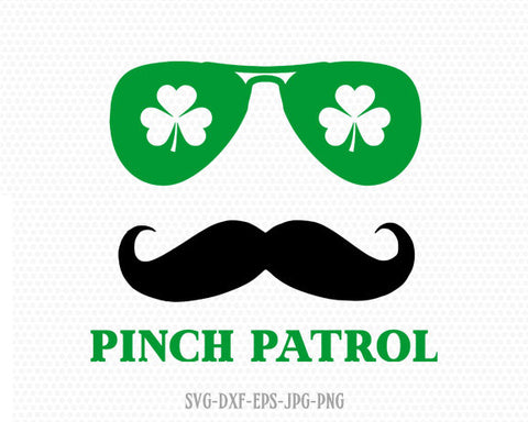 St. Patricks Mustache svg, pinch patrol svg, St Patricks' Day Svg, Lucky SVG, Shamrock SVG, CriCut Files svg jpg png dxf Silhouette